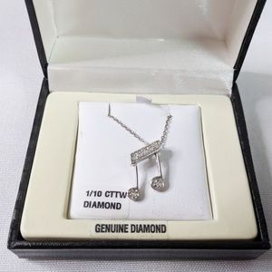 Jewelry - Diamond & Sterling Silver Music Note Necklace NEW